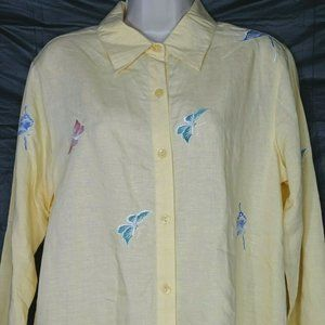 Susan Graver Button Up Shirt Butterfly Embrodiered